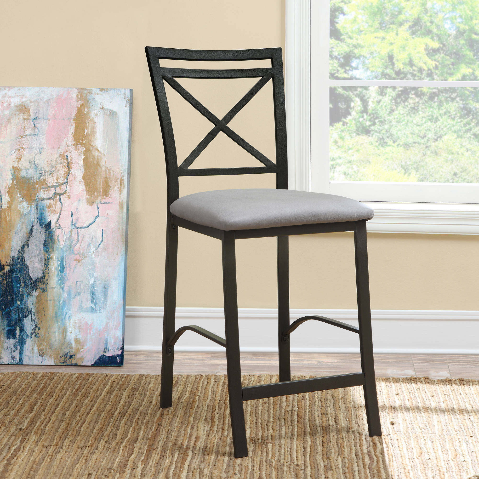 Dorel Living Devon Crossback Counter-Height Dining Chair, Black Coffee / Grey