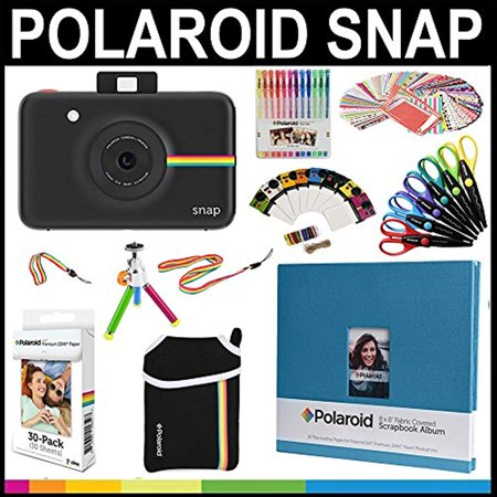 Epoxy Stickers Photo Gems - Polaroid Snap Instant Print Camera Gift Bundle + ZINK Paper (30 Sheets) + 8x8
