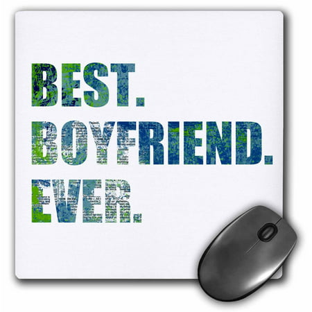 3dRose Arty Best Boyfriend Ever - grunge paint splattered blue green text, Mouse Pad, 8 by 8