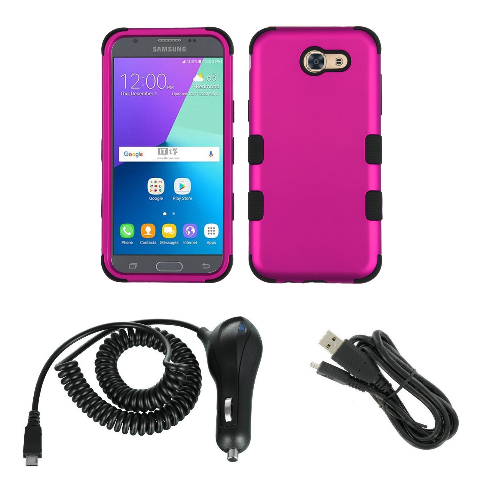 TUFF Series Military Grade Case (Hot Pink) Bundle with Atom LED, 2.1A Car Charger and Micro USB Cable for Samsung Galaxy J3 (Luna Pro, J3 Prime, Eclipse, Emerge, Mission, Amp Prime 2, Sol 2)