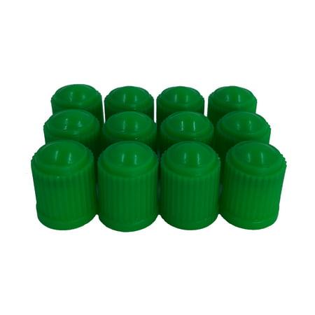 Pack of 12 Green Valve Stem Caps with Inner Seals for Nitrogen filled tires