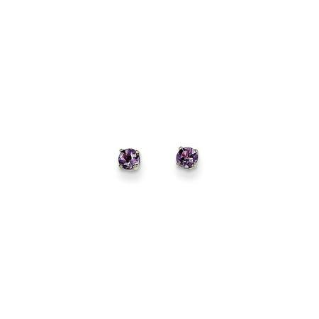 14k White Gold 3mm Purple Amethyst Stud Earrings Birthstone February Prong Gemstone Gifts For Women For Her ()