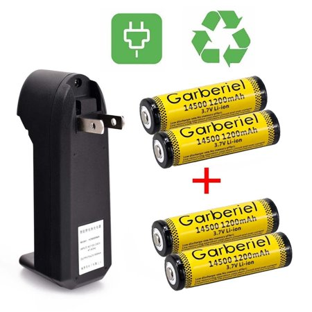 Garberiel 4Pcs 14500 Battery and Charger 1200mAh 3.7V Lithium Rechargeable Battery AA Batteries For Led Flashlight