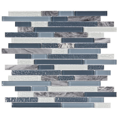 EliteTile Sierra 11-3/4'' x 11-5/8'' Polished Glass and Stone Piano Mosaic in Gulf