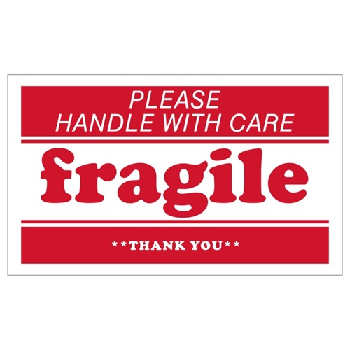 """""""fragile"""" Shipping Labels, 5 x 3 inches, Red & White - 2 Rolls of 500 (1,000 Stickers)"""
