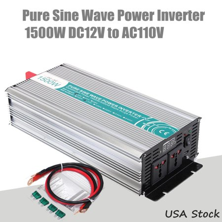 3000w Power Inverter - Pure Sine Wave Inverter 1500W 3000W Peak Grtsunsea Pathonor DC 12V to AC 110V/220V Power Converter Off Grid LED Display USB for Car Outdoor Household