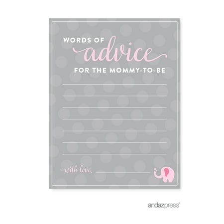 Advice Cards Bubblegum Pink Girl Elephant Baby Shower Games, 20-Pack (Girl Elephant Baby Shower)