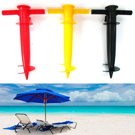1 umbrella holder anchor spiral stake beach sand stand for Kid fishing pole walmart