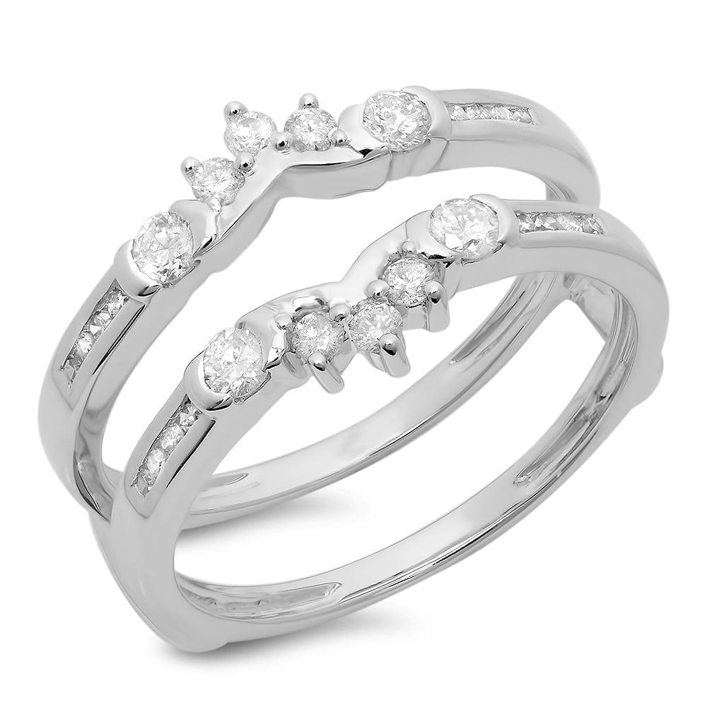 0.50 Carat (ctw) 10K White Gold Round Diamond Ladies Anniversary Wedding Band Enhancer Guard Double Ring 1 2 CT by DazzlingRock