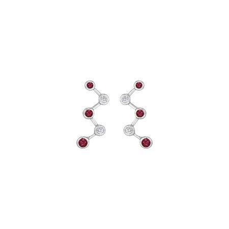 Ruby and Diamond Earrings 14K White Gold 1.00 CT TGW - image 4 de 4