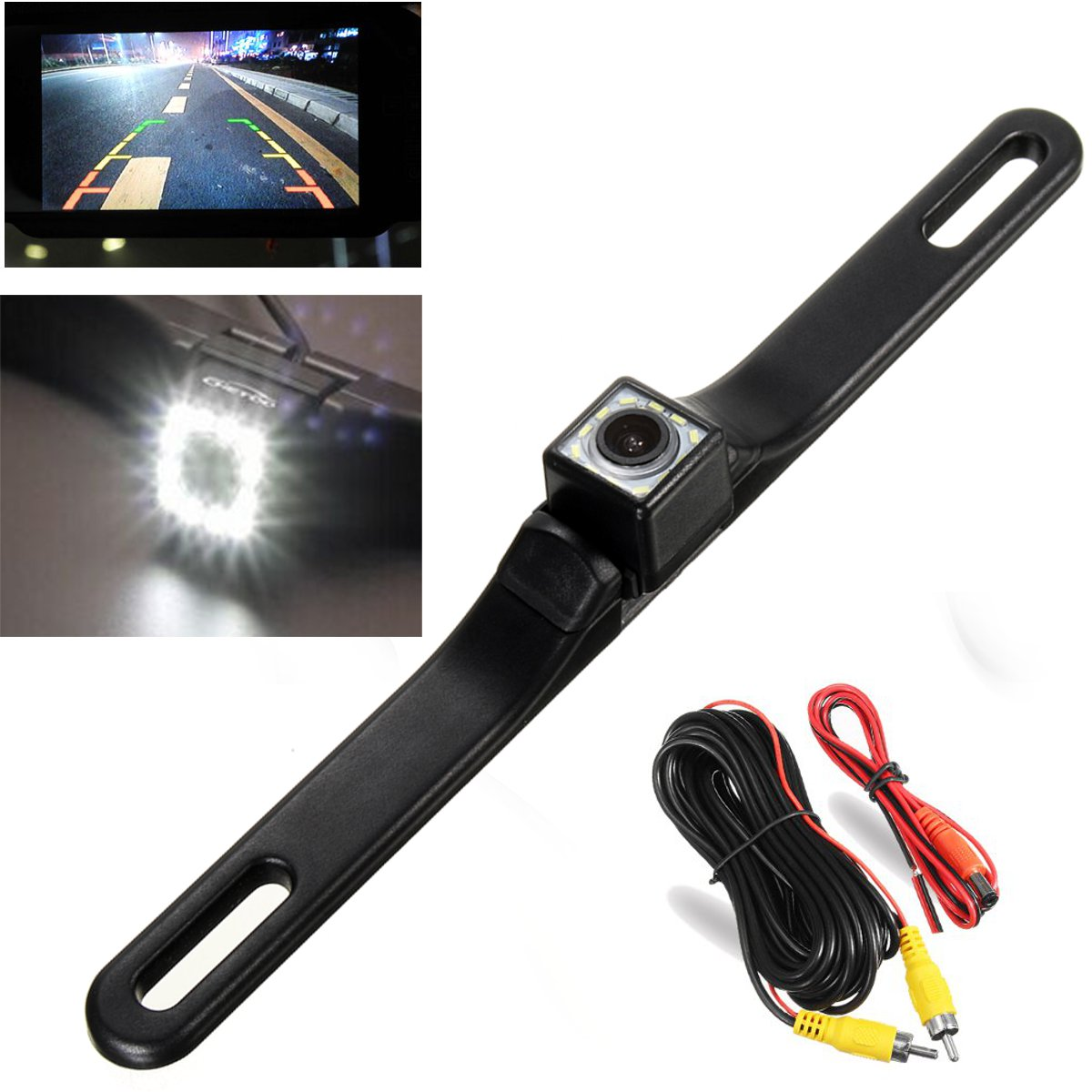 12 LED CMOS Waterproof Night Vision License Plate Mount Car Rear View  Backup Parking Camera