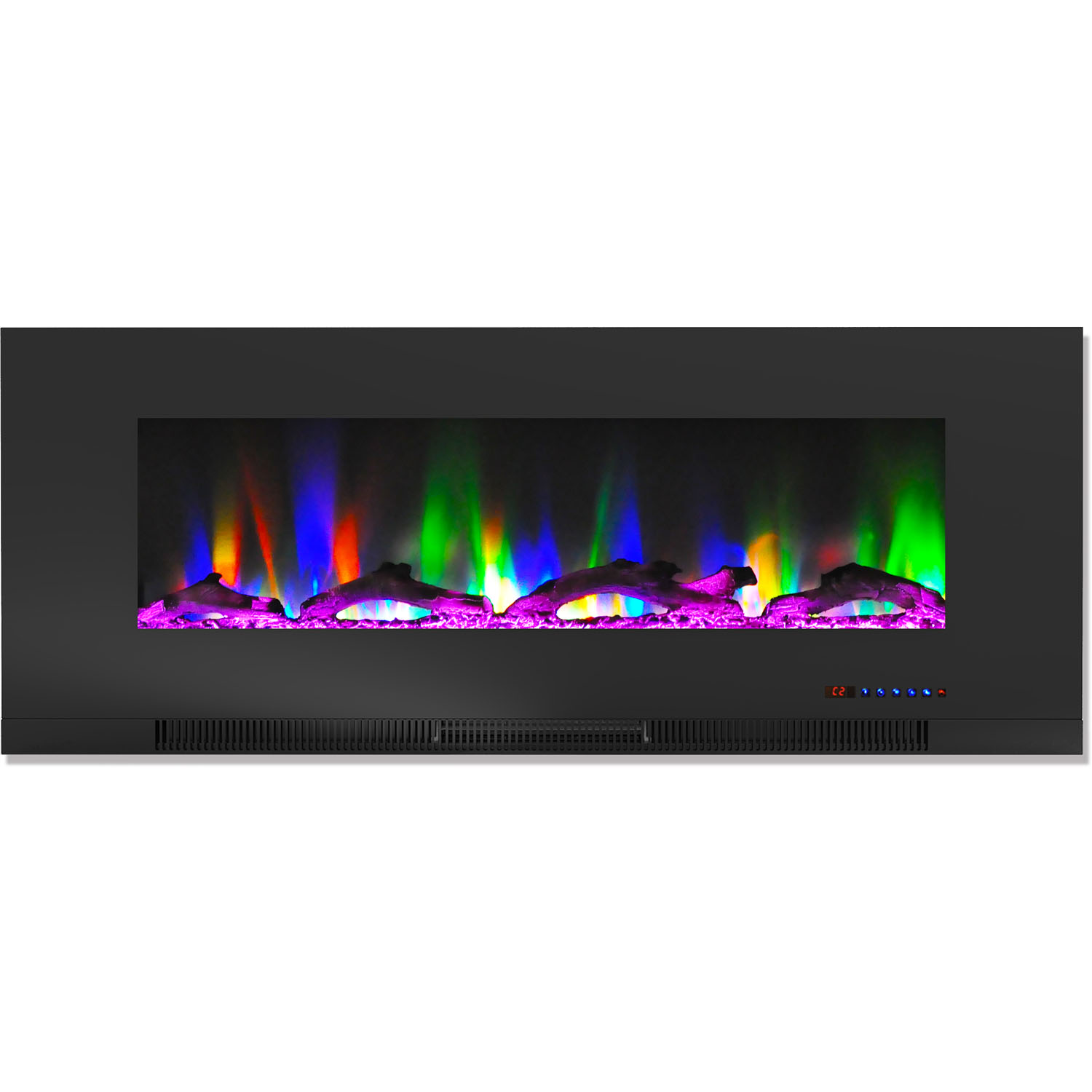 """Cambridge 50"""" Wall-Mount Electric Fireplace Heater with Multi-Color LED Flames and Driftwood Log Display"""