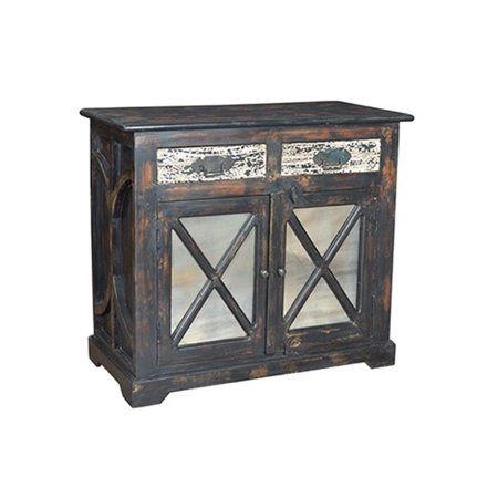 Moti Parker Buffet with 2 Antique Mirror Doors & 2 Contrast Drawers - 37 x 18 x 42 in. ()