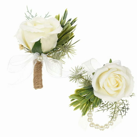 33f2a59d7 Coolmade 2Pcs Succulents Boutonniere Buttonholes and Wrist Corsage  Wristband Roses Wrist Corsage, Groom Groomsman Best Man and Girl Brides Wedding  Flowers ...