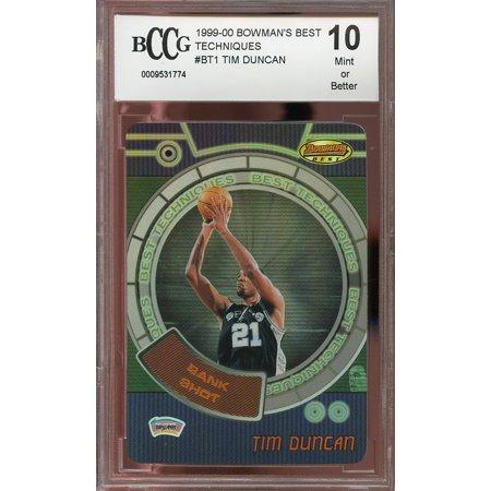 1999-00 bowman's best techniques #bt1 TIM DUNCAN san antonio spurs BGS BCCG