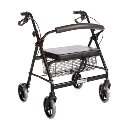 Heavy Duty Bariatric Rollator Walker With Seat and Wheels, 4 Wheel Walker With Large Seat and Basket and Brakes, Medical Heavy Duty Walker With Seat for Seniors, 8 Inch Wheels, 450 Lbs, Black (Bariatric Heavy Duty Walker Wheels)