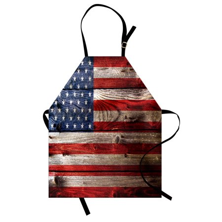 USA Apron Fourth of July Independence Day Weathered Retro Wood Wall Looking Country Emblem, Unisex Kitchen Bib Apron with Adjustable Neck for Cooking Baking Gardening, Red Blue Tan, by Ambesonne