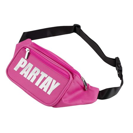 Juvale Women's Fanny Pack - Partay Print Pink Waist Bag, Fun Waterproof Bum Bag for Festivals, Raves, Hiking and Bachelorette Parties, 13.5 x 2.8 x 5.3