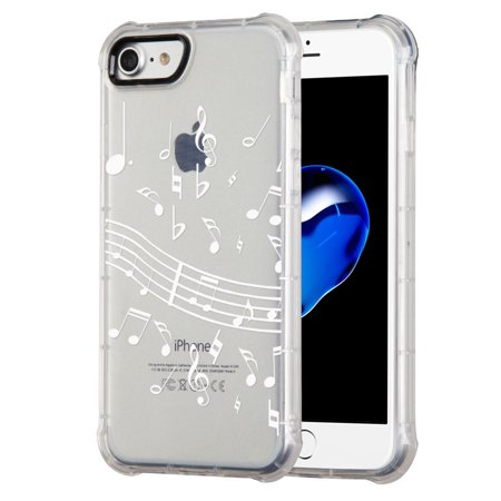 7 Music Notes (Corner Guard Case for Apple iphone 8, also fits iphone 7, OneToughShield ® Premium Shock Absorbing TPU Protector Phone Case - Music)