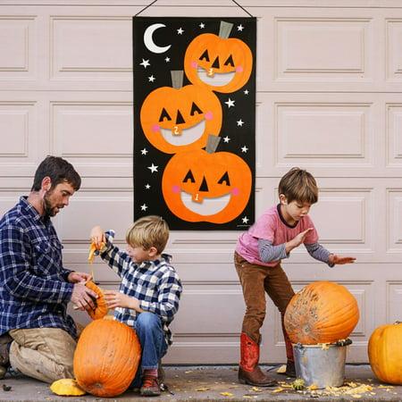 Halloween Party Ideen Teenager (Pumpkin Bean Bag Toss Games + 3 Bean Bags, Halloween Games for Kids Party Halloween)