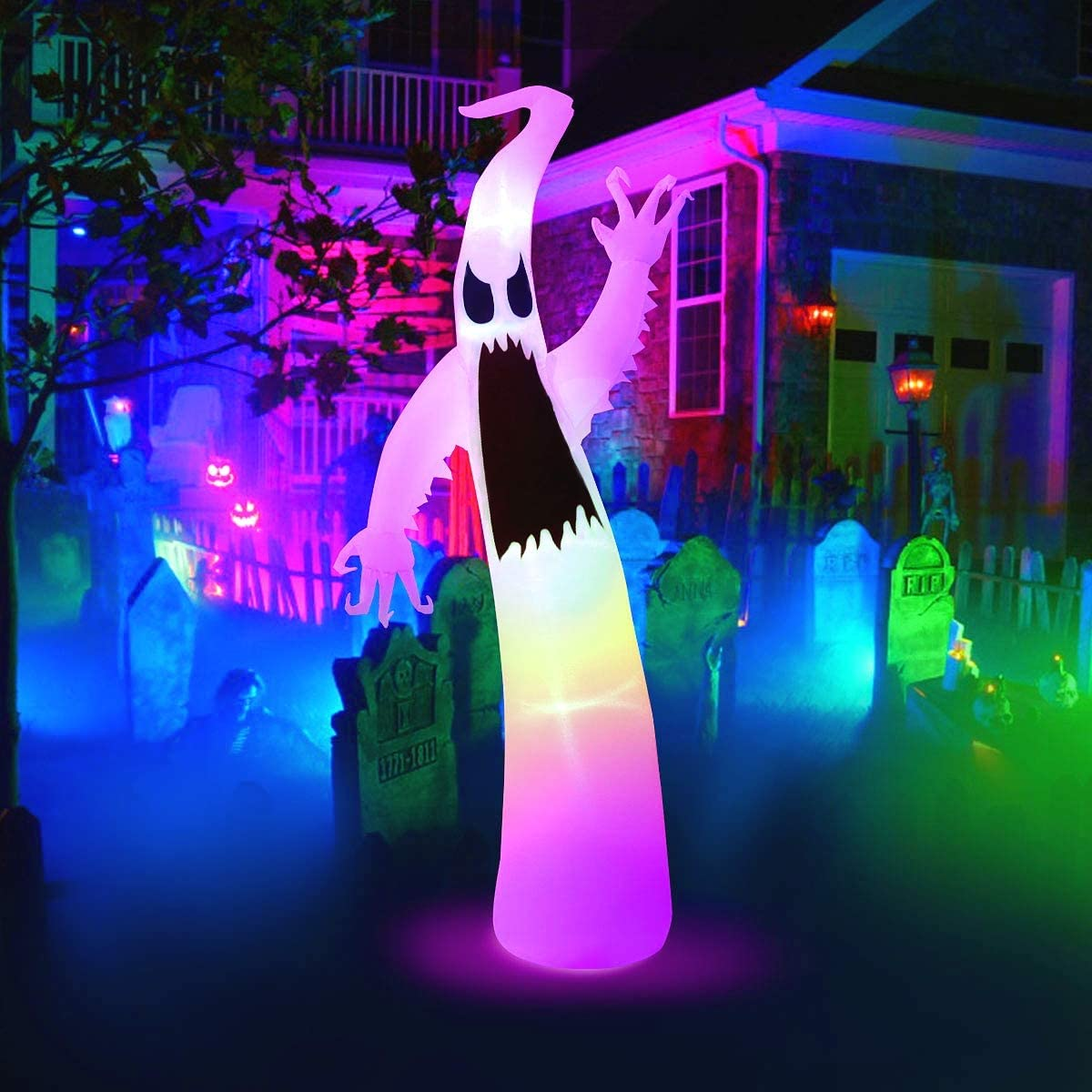 Image of: Halloween Inflatables 6ft Inflatables Ghost For Halloween Decorations Outdoor Built In Led Lights With Tethers Stakes For Outdoor Halloween Yard Decorations Garden Lawn Walmart Canada