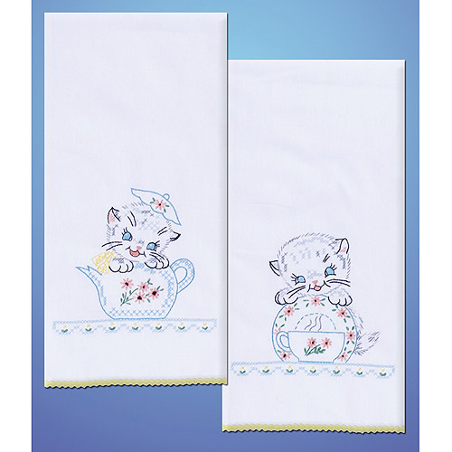 Tobin Kittens Stamped Kitchen Towels For Embroidery