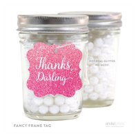 Sparkle Princess Birthday Thanks Darling Fancy Square Gift Tags, 24-Pack