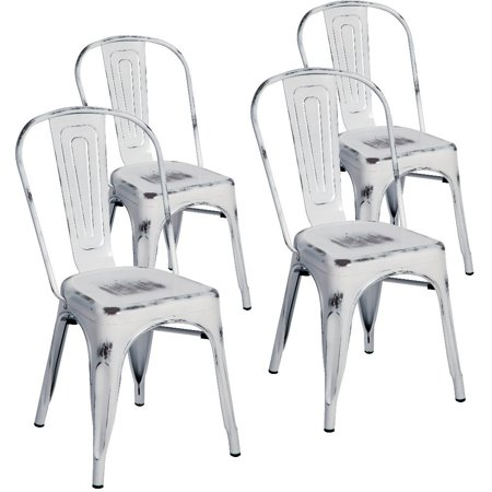 (Merax Indoor-Outdoor Use Tolix Style Distressed Metal Bistro A Dining Side Chair Stackable Highback Chic Cafe Side Chair, Set of 4)