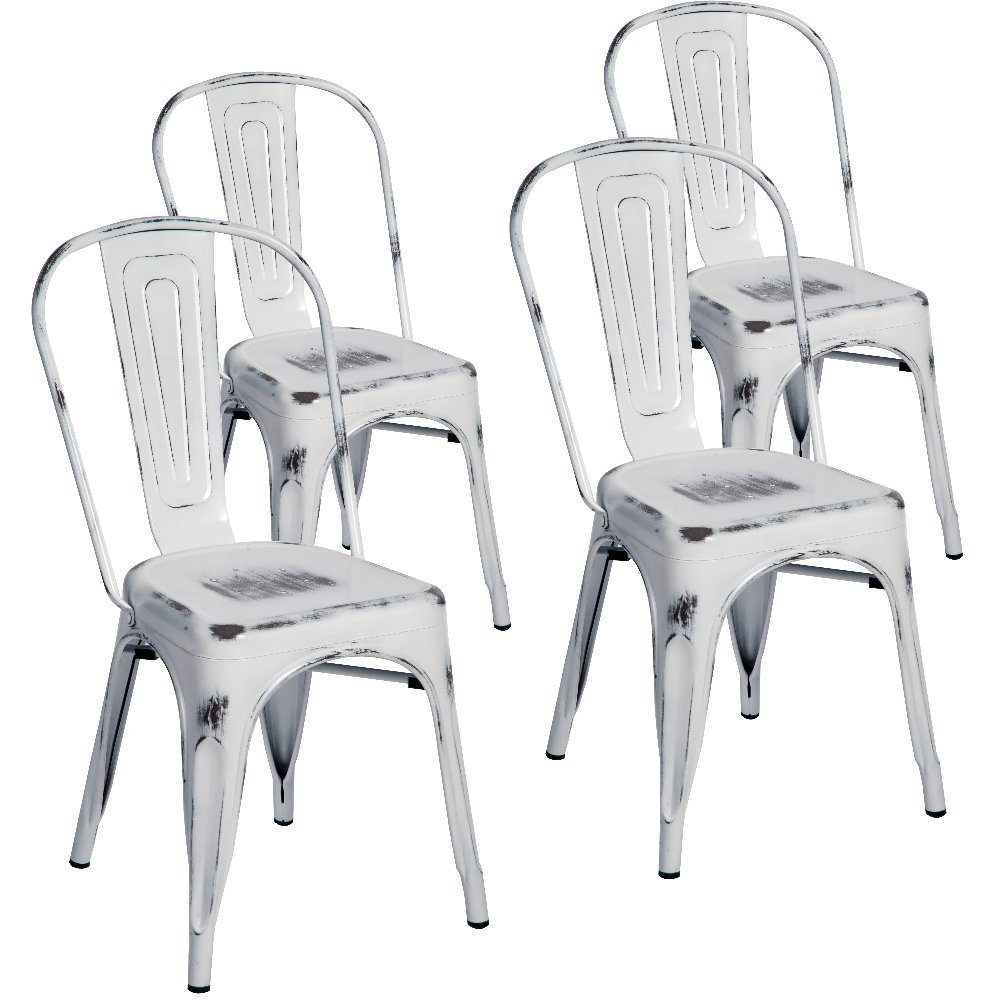 Merax Indoor Outdoor Use Tolix Style Distressed Metal Bistro A Dining Side  Chair Stackable Highback