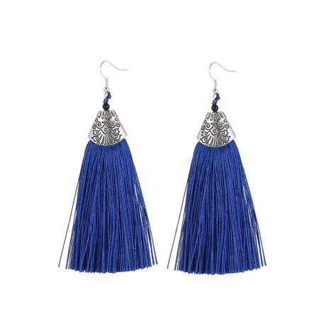 Fysho Women Elegant Tassel Earrings Bohemian Retro Alloy Jewelry Sweet Eardrop Body Jewelry Black Chandelier Earrings