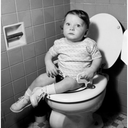 Baby girl sitting on toilet Canvas Art - (24 x 36)