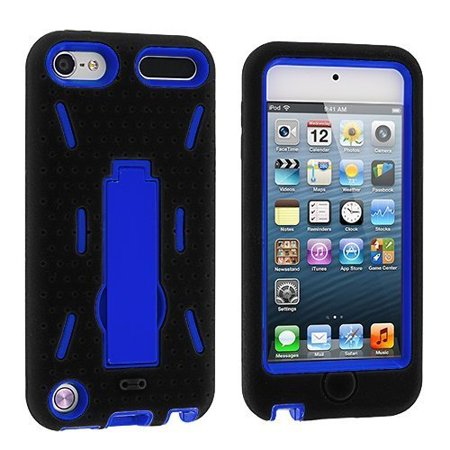 Hybrid Armor Case with Kickstand for Apple iPod Touch 5th Gen - Black/Blue ()