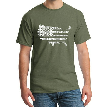 Men's USA Flag Map Military Green C4 T-Shirt 3X-Large Military Green ()