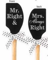 Spatula-Mr & Mrs Always Right-White On Black (Silicone)