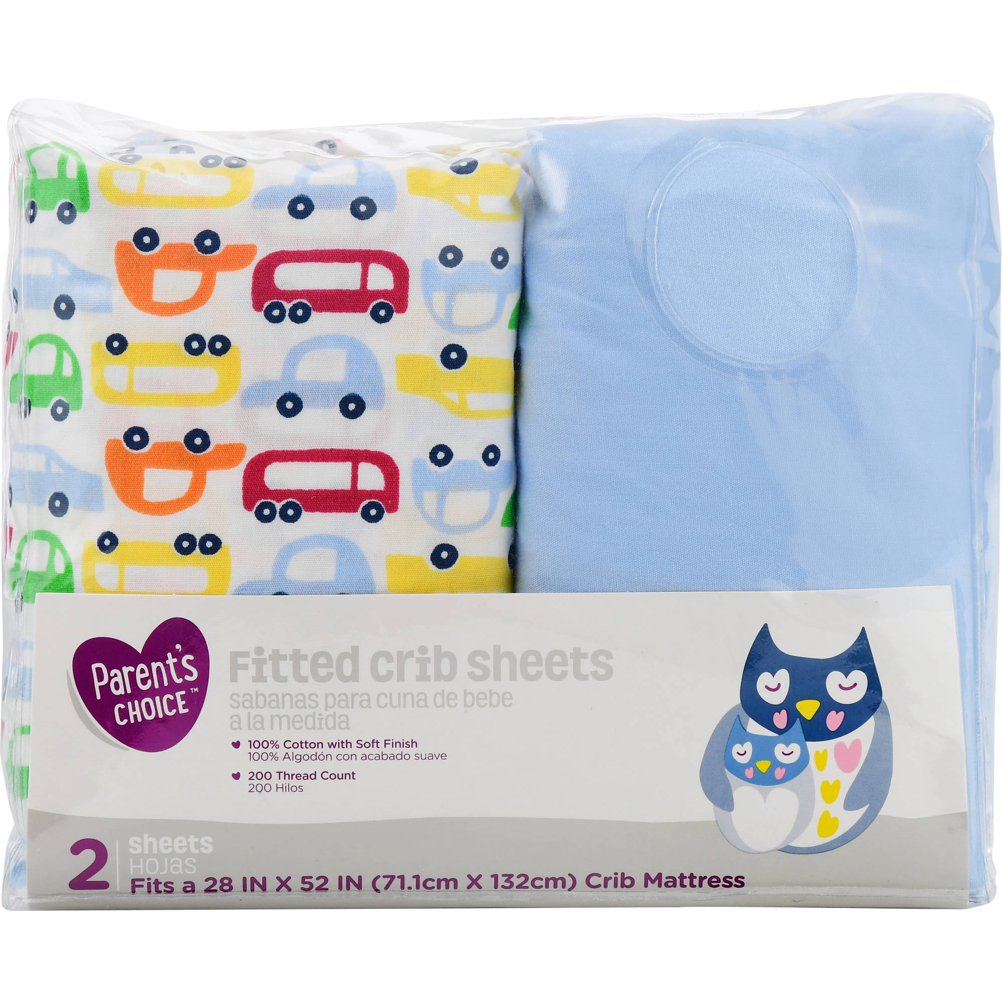 Parent's Choice Fitted Crib Sheets, Cars, 2 Count