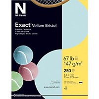 "Exact Vellum Bristol Cover Stock, 8 1/2"" x 11"", 67 Lb, Blue, Pack Of 250 Sheets"