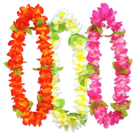 Beistle 60882 36 in. Sunset Floral Leis, Assorted Color - Pack of 6 - Cheap Leis In Bulk
