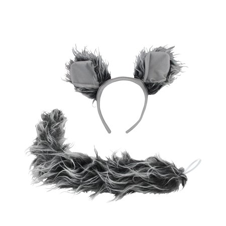 Werewolf Big Bad Wolf Ears Tail Kit Wolfman Grey Costume Set Halloween Accessory (Spirit Halloween Cat Tail)