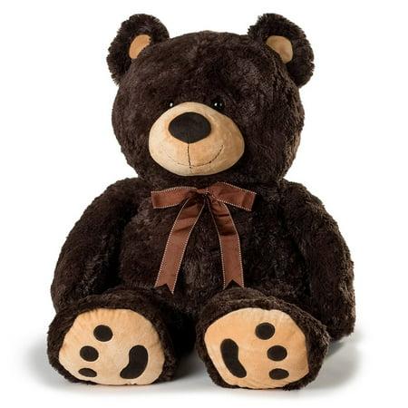 Joon Huge Teddy Bear With Ribbon  Dark Brown