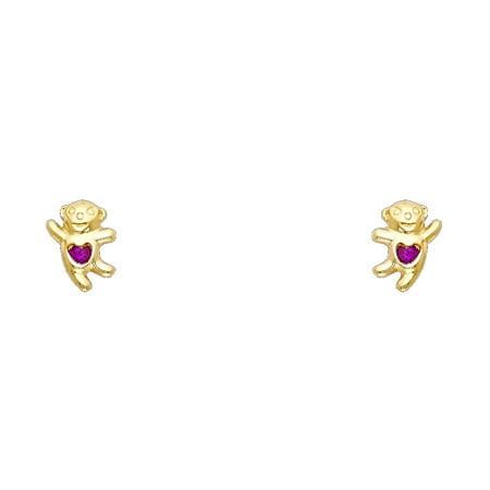 Bear Cubic Stone (Jewels By Lux 14K Yellow Gold Bear Red Cubic Zirconia CZ Womens Stud Earrings )