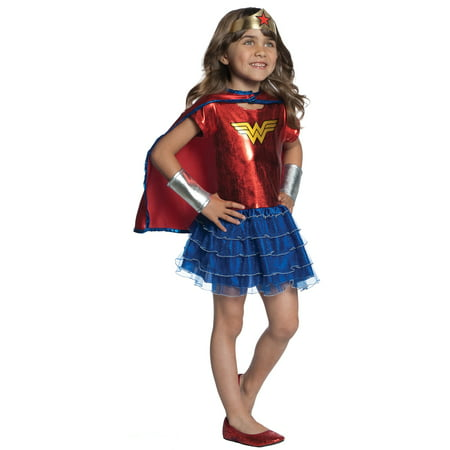 Wonder Woman Tutu Dress Up Girls Child Superhero Halloween Costume Set-Os](Womens Superhero Tutu Costumes)