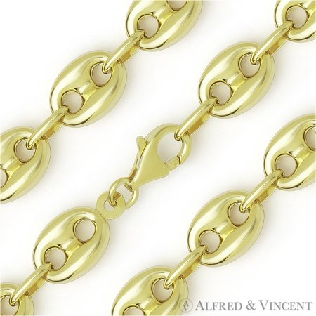11e50344bba Alfred   Vincent - 11.7mm Puffed Marina   Mariner Link Italian Chain  Necklace in .925 Sterling Silver w  14k Yellow Gold - Walmart.com