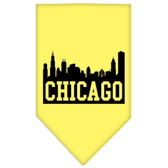 Mirage 66-76 LGYW Chicago Skyline Screen Print Pet Bandana Yellow Large