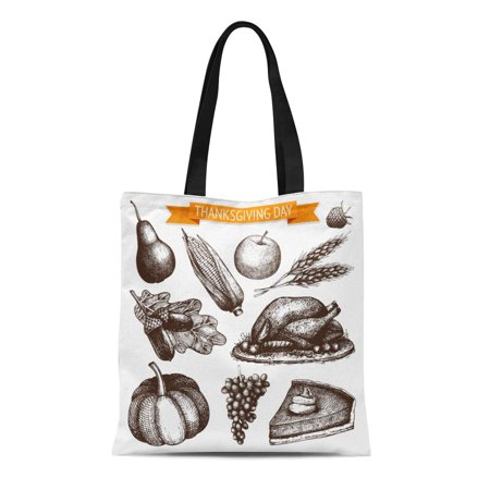 SIDONKU Canvas Bag Resuable Tote Grocery Shopping Bags Pie Collection of Ink Thanksgiving Day Vintage Turkey Sketch Dinner Wheat Fruit Tote
