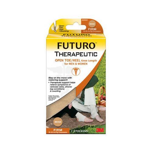 3M Futuro Therapeutic Firm Compression Open Toe/Heel Knee Length, Beige - 1 Stocking