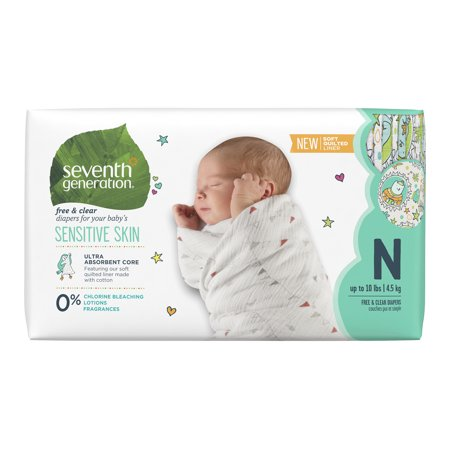 Diaper Covers Free Shipping (Seventh Generation Free & Clear Baby Diapers with Animal Prints Size Newborn, up to 10 lbs 36 count )