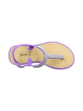 09491e0fa703d8 Product Image Sara Z Girls Rhinestone Strap Slingback Thong Sandal Size  11 12