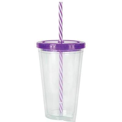16oz PURPLE LID TUMBLER WITH SWIRL STRAW - Cup With Lid And Straw