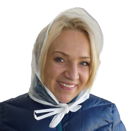 Size one size Women's Clear Waterproof Rain Bonnet Hat (Pack of 3), Clear ()