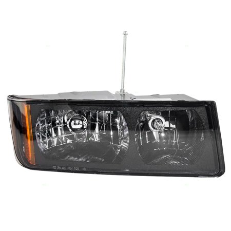 BROCK Headlight Headlamp Passenger Replacement for 02-06 Chevrolet Avalanche Pickup Truck with Body Cladding 15136537